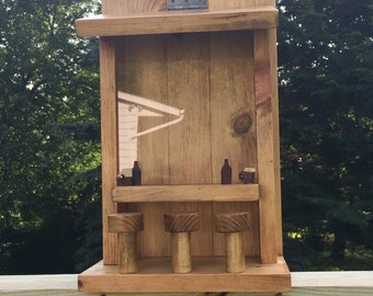 Wood Saloon, Handmade Bird Feeder, Father's Day Gift, Hanging Garden Accessory