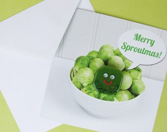 Christmas Card with Handmade Glass Brussel Sprout Brooch by Jessica Irena Smith