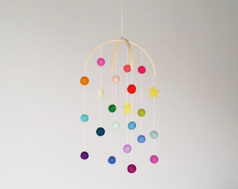 Mobile for Playroom, Felt Ball Mobile, felted stars mobile, felt pom mobile, nursery decor, Rainbow mobile, whimsical baby mobile