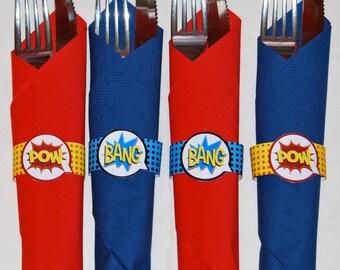 Superhero party napkin rings printable, napkins, superhero birthday, superhero party favors, superhero party decorations, party printable