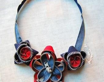 Zipper necklace, Zipper jewelry, Flower necklace, Denim necklace, Flower jewelry, Gift for her