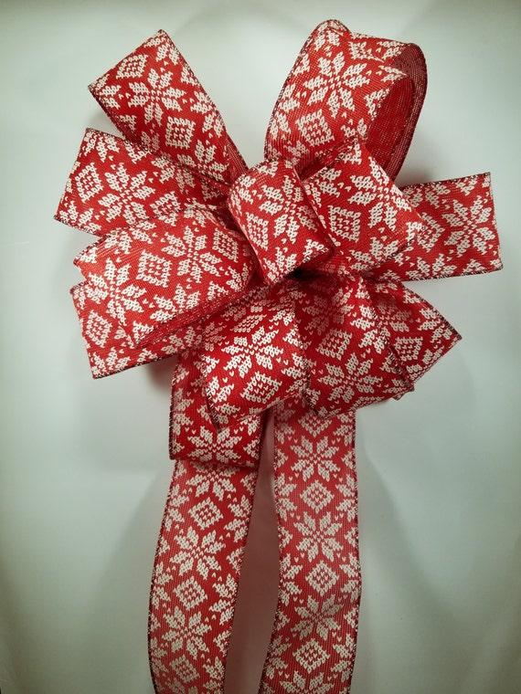toile de jute rouge avec noeud poinsettia blanc fait avec 6. Black Bedroom Furniture Sets. Home Design Ideas