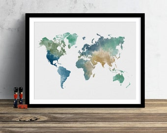 World Map Watercolor Illustration Art Print Large Map Print Map Wall Art Poster Home Decor Gift PRINT