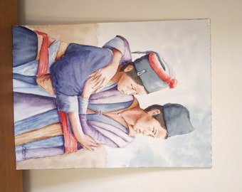 Watercolor painting of two vietnamese sisters