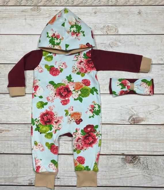 Winter Baby Shower Dresses: Baby Girls Outfit Girls Romper Winter Hoodie Romper Set