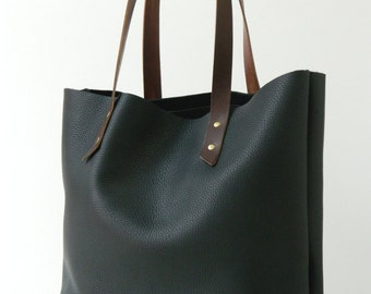 Black Pebbled Leather Tote - The Miller
