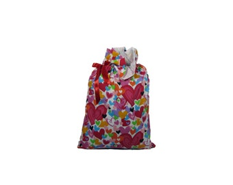 Large Valentine Hearts Handmade Fully Lined Cloth Gift Bag