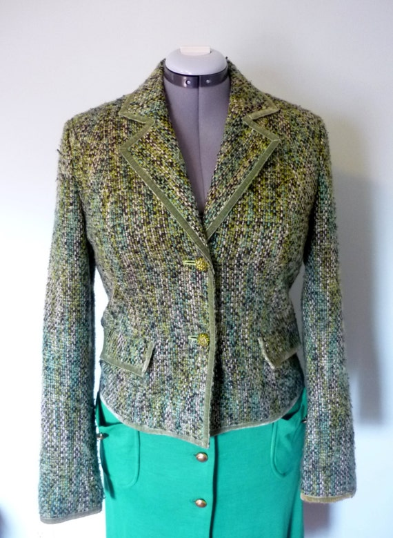 1960s Green Wool Boucle Blazer / Velvet Trim / Crystal Buttons / Mid Century Tweed Dress Jacket / Modern Size Medium or Large