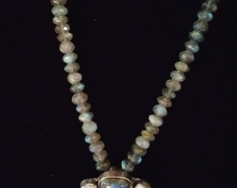Labradorite, Freshwater Pearl and Sterling Silver Pendant Necklace