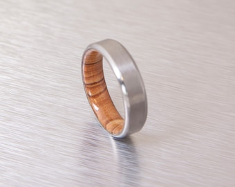 Titanium and Olive Rings // Mens Wood Rings //wood Wedding Band //Men's wedding Band // beveled edge