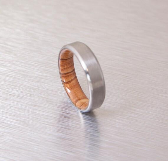 Titanium And Olive Rings Mens Wood Rings Wood Wedding