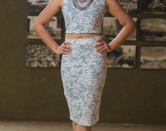 CHIQUE Printed Linen Pencil Skirt