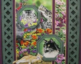 Cats in the Garden - Trellis - Panel - Susan Bourdet