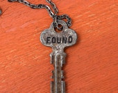 "Hand Stamped Vintage Key ""FOUND"" Necklace (#449) - Jewelry Necklace Pendant Custom"