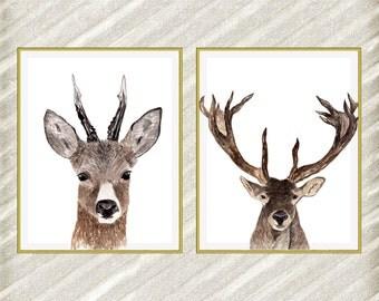 "Deer digital print: ""FOREST ANIMAL"" Woodland animals watercolor animals Deer Printable Nursery wall art Kids rom decor Deer Poster set of 2"