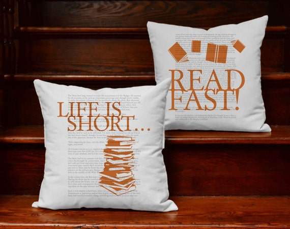 Life Is Short...Read Fast | Bookish Throw Pillows