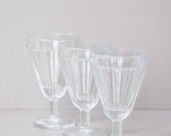 Set of 3 Vintage French bistro glasses. French Café Mid century.