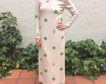 James Galanos Authentic 1960's Vintage Cream and Green Floral Print Column Gown Beaded LS Dress