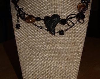 Black heart necklace, black wire, button