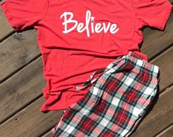 Believe T-Shirt, Ladies Christmas Shirt