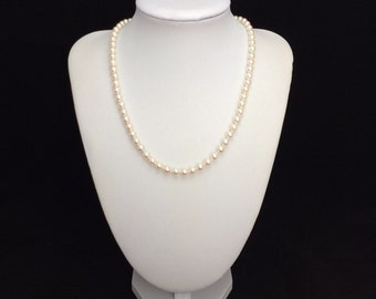 "Akoya Pearl Necklace 16"" with 925 Sterling Silver Clasp"