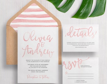 Wedding Invitation Suite Calligraphy Watercolor | Save the Date | RSVP | Details | Custom | Invite | Miranda