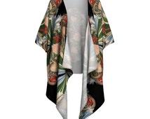 Snake + Floral Kimono Wrap - Kimono, Kimono Blouse, Black Mamba, Snake, Beach Coverup, Draped Kimono, Boho, Fringed Kimono, Gypsy