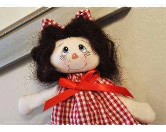 """Dolly-for-doll (or you!) Handmade 7"""" fabric doll. And dollgone cute!"""