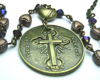 OUR LORD'S PRAYER Necklace with Dark Purple Crystals, Christian Necklace