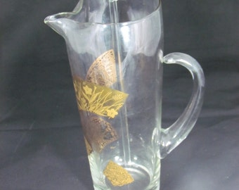 Mid Mod Beverage Pitcher with Stirrer - Clear with Gold Fans - Mid Century Modern - Gifts for Men