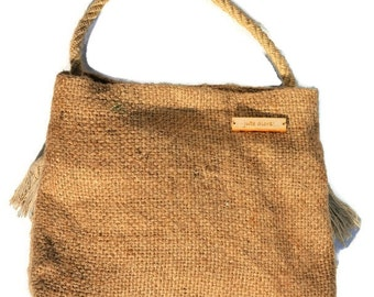 Hessian Handbag.  Eco-chic accessory. Handmade using recycled hessian (jute), fully lined with rope handle.