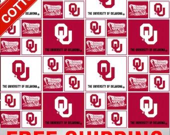 "University Oklahoma Cotton Fabric Sooners NCAA OU-020 45"" Wide Free Shipping"