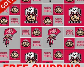 "Ohio State University Cotton Fabric Buckeye NCAA OHS-020 45"" Wide Free Shipping"