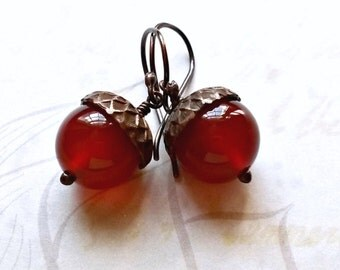 Carnelian Acorn Earrings Carnelian Gemstone Earrings Boho Earrings