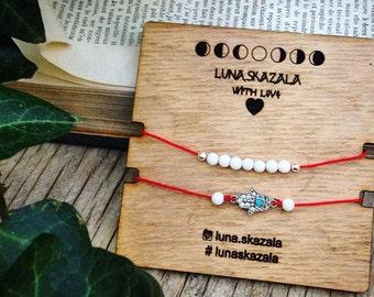 Set bracelet wits natural stone and hand Fatima hamsa or buddah
