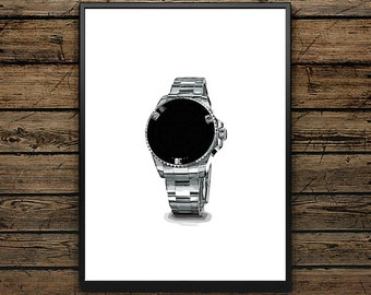 Premium Poster Black Watch ROLEX Style - Scandinavian Style - Wall decoration - Typographic Design - Black and White Illustration - Gift