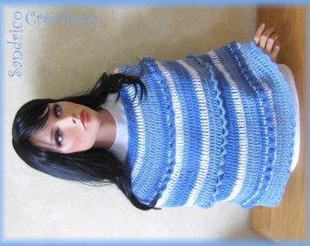 Short poncho Navy mohair knitted hand crochet