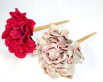 Juniper wood hair stick with genuine leather suede deep pink rose. Floral wooden hair stick with real leather rose of chameleon pink color