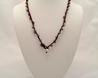 Hand crocheted beaded necklace, vintage crystal pendant