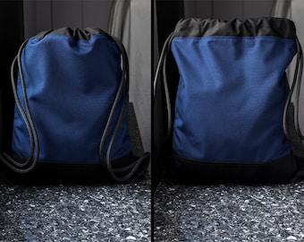 Nylon Backpack - Waterproof Backpack Navy Blue - Hiking Backpack - Hipster Backpack - Simple Minimalist Backpack - Drawstring Back Pack