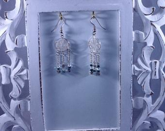 Silver filigree earrings - gifts under 20- gifts for her - Boho earrings - middle eastern inspired - triple dangle earrings - beaded- seed