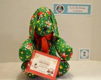 Handmade stuffed Christmas dog