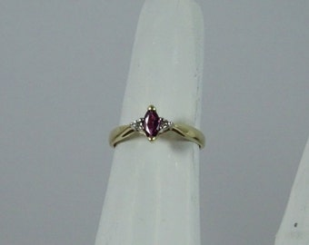 Estate 14k Gold , Ruby and Diamond  Ring size 6.25