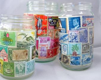 World wide stamps candle/pen/vase jar