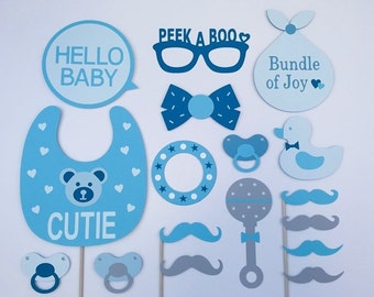 Baby Boy Newborn Props / Baby Shower Party Props / Boy Baby Photo Booth Props / Fully Assembled / 17 Pc