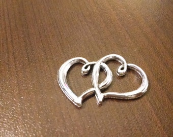Silver Double Heart Charm Connector - 24mm x 31mm - Jewelry Supplies - Valentine's Day