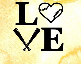 Love Baseball SVG cutting file, svg file for silhouette, softball, sports svg, pdf, eps files, baseball vector art, I heart baseball