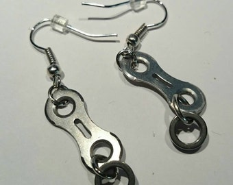 Earrings. Hand Made. Recycled Bicycle Chain Link .  FREE SHIPPING!!  Link and roller.