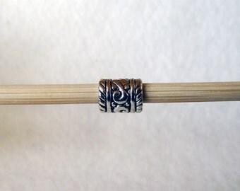 European Charm Bracelet Ornate Carved Tube Spacer Bead 6x8mm B00790