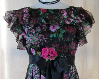 1960'S Kiki Hart Silk Chiffon Maxi Dress, Dress, Formal, Maxi, Kiki Hart, Evening Gown, Silk Chiffon, 1960's, 1970's, Black, Floral